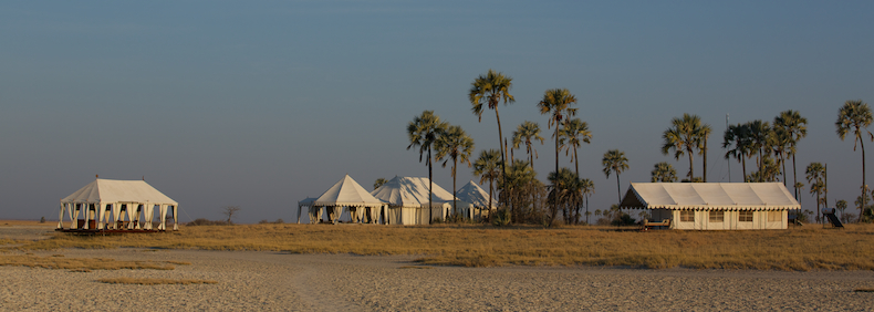 Uncharted Africa's San Camp sits alongside the Makgadikgadi salt pans of northern Botswana