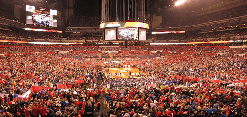 A deafening 73 000 fans crammed into Lucas Oil Stadium in Indianapolis to watch the Final Four