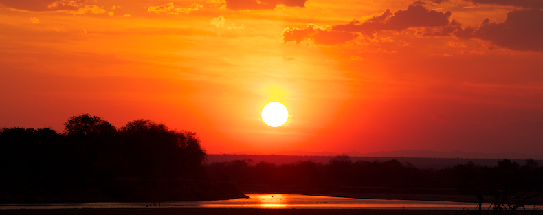 Sunset over the wild Luangwa River
