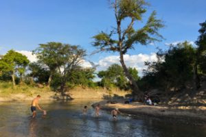 Swimming and camping next to the Grumeti River