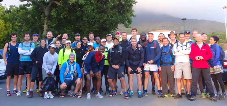 Fellow Graduate School of Business students line up at the start of the Three Peaks Challenge