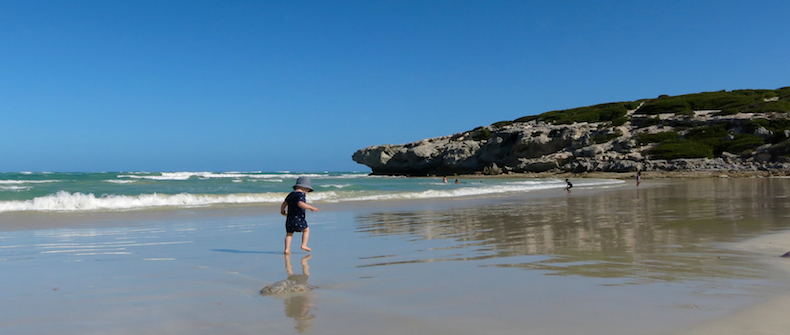 Charlie sets off to explore Arniston beach