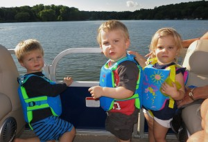 All the little cousins enjoying an evening pontoon ride around Lotus Lake