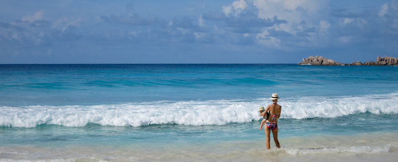The warm Indian Ocean surrounding the Seychelles beaches
