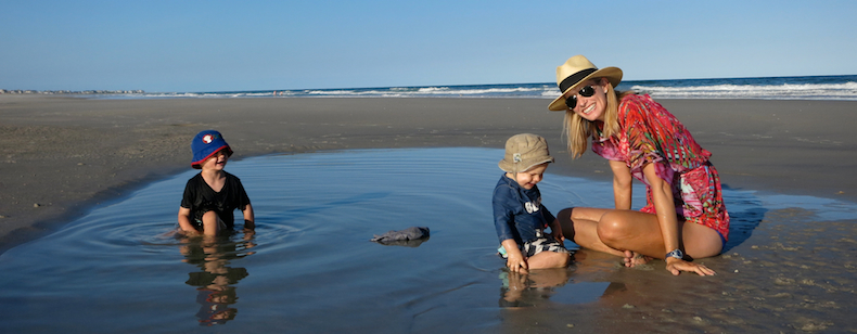 Quality family beach time playing in the tidal pools of Figure Eight Island