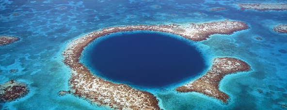 The world renowned Blue Hole in the Belizean barrier reef